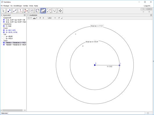 Hvordan regne areal av sirkel